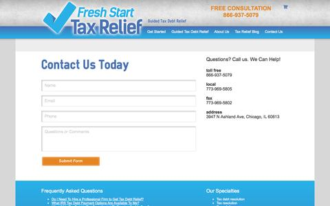 Screenshot of Contact Page freshstarttaxrelief.com - Contact Us | Fresh Start Tax Relief - captured Oct. 6, 2014