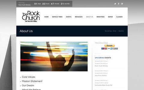Screenshot of About Page gotrock.org - The Rock Church Temecula Valley |   About Us - captured Oct. 6, 2014