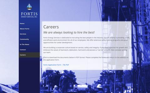 Screenshot of Jobs Page fortisenergyservices.com - Careers   Fortis Energy Services, Inc. - captured Oct. 6, 2014