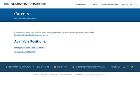 Screenshot of Jobs Page gladstonecompanies.com - Careers - Gladstone Companies - captured Nov. 8, 2017