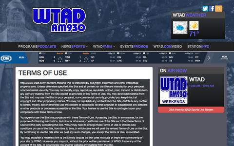 Screenshot of Terms Page wtad.com - Terms of Use - WTAD - captured Sept. 30, 2017