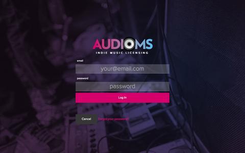 Screenshot of Login Page audioms.com - Audioms - Indie Music Licensing - captured Sept. 30, 2014