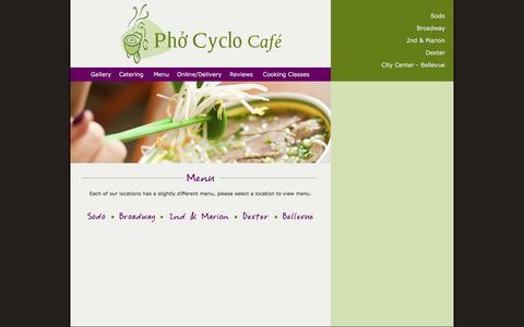 Screenshot of Menu Page phocyclocafe.com - Phở Cyclo Café - captured June 16, 2016