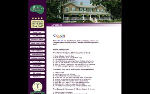Screenshot of Maps & Directions Page juliasbb.com - Welcome to Julia's Bed and Breakfast Inn, Hubbard, Ohio - captured Nov. 27, 2016