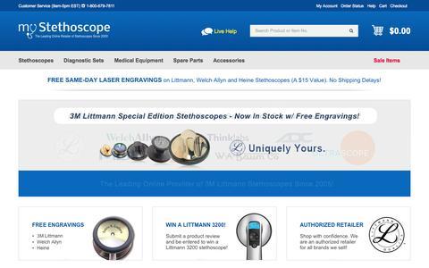 Screenshot of Home Page mystethoscope.com - 3M Littmann Stethoscope  Sale | MyStethoscope.com - captured Jan. 26, 2015