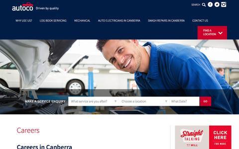 Screenshot of Jobs Page autoco.com.au - Careers - captured July 27, 2016