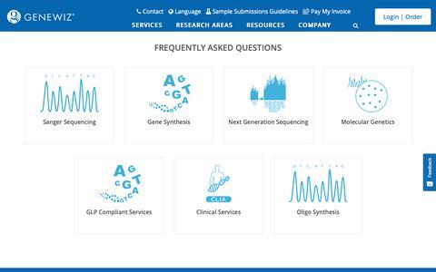 Screenshot of FAQ Page genewiz.com - FAQs - Resources - GENEWIZ - captured Jan. 12, 2019