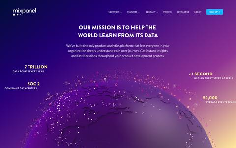 Screenshot of About Page mixpanel.com - About Us   Helping the World Learn from its Data   Mixpanel - captured May 14, 2018