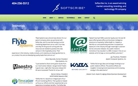 Screenshot of Testimonials Page softscribeinc.com - Softscribe Inc., Tech PR | Testimonials - captured Aug. 15, 2015