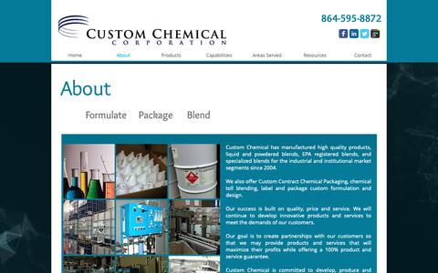 Screenshot of About Page customchemicalcorp.com - About Custom Chemical - captured Sept. 30, 2018
