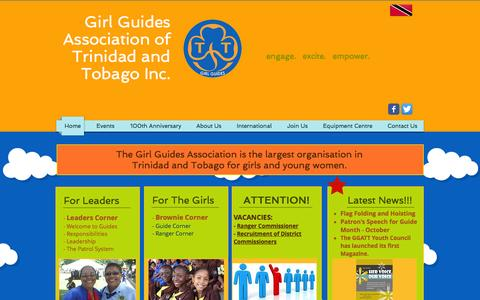 Screenshot of Home Page girlguidestt.org - Girl Guides Association of Trinidad and Tobago - captured Oct. 17, 2015