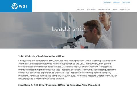 Screenshot of Team Page washingsystems.com - Leadership - Washing Systems - captured Sept. 20, 2018