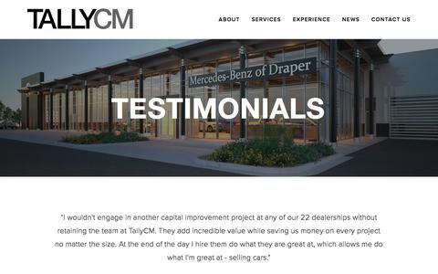 Screenshot of Testimonials Page tallycm.com - Testimonials — TallyCM - captured Sept. 20, 2018