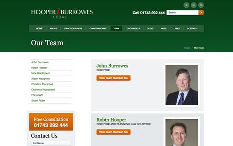 Screenshot of Team Page hblegal.co.uk - Our Team at Hooper Burrowes Legal in Shrewsbury - captured Oct. 29, 2014