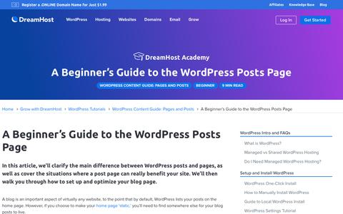 Screenshot of Blog dreamhost.com - Beginner's Guide to the WordPress Posts Page  – DreamHost - captured Feb. 21, 2020