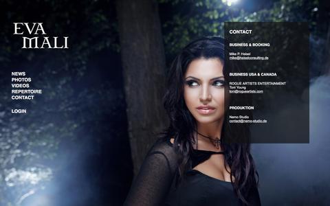 Screenshot of Contact Page evamali.com - Eva Mali - Official Website - captured Jan. 23, 2017
