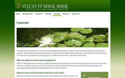 Screenshot of FAQ Page vulcanfuneralhome.ca - Vulcan Funeral Home » Funerals - captured Oct. 7, 2014