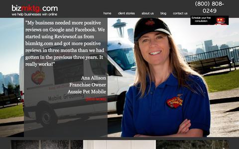 Screenshot of Home Page bizmktg.com - bizmktg.com | we help businesses win online - captured Oct. 10, 2017