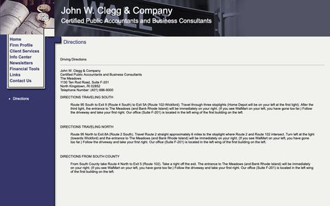 Screenshot of Maps & Directions Page cleggco.com - John W. Clegg & Company - Directions - captured Oct. 14, 2018