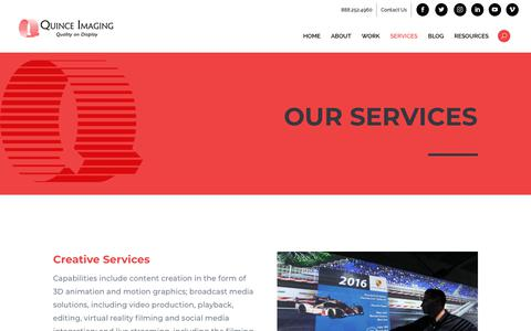 Screenshot of Services Page quinceimaging.com - Quince Imaging Video Production & Projection Mapping Services - captured Nov. 5, 2018