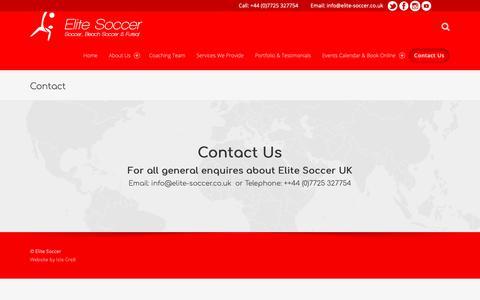 Screenshot of Contact Page elite-soccer.co.uk - Contact – Elite Soccer - captured Nov. 10, 2018