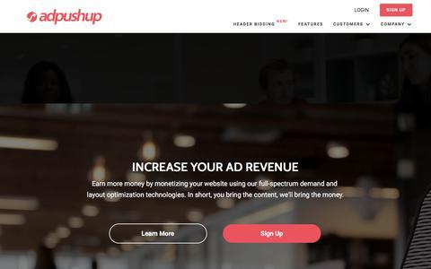 Screenshot of Home Page adpushup.com - Ad Revenue Optimization - AdPushup - captured Sept. 23, 2017