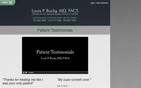 Screenshot of Testimonials Page drbucky.com - Patient Testimonials for Dr Louis Bucky Philadelphia Ardmore PA - captured Oct. 2, 2014