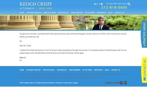 Screenshot of Testimonials Page keoghcrispi.com - Personal Injury Law Firm Client Testimonials | Keogh Crispi, P.C. - captured Oct. 6, 2014
