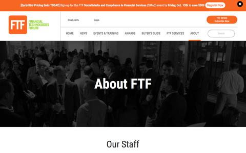Screenshot of About Page ftfnews.com - About Financial Technologies Forum | FTF News - captured Oct. 13, 2017