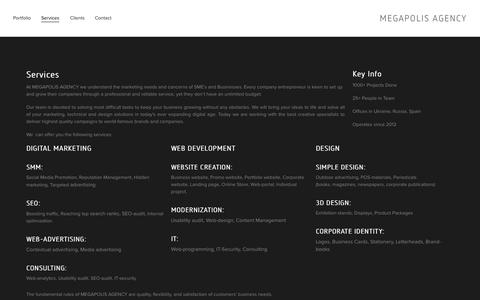 Screenshot of Services Page megapolis-agency.com - Services — MEGAPOLIS AGENCY - captured Oct. 8, 2014