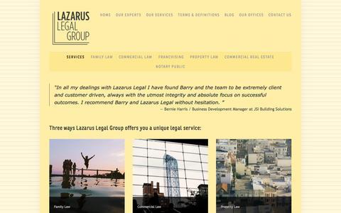 Screenshot of Services Page lazaruslegal.com.au - Services — Lazarus Legal Group - captured Oct. 2, 2014