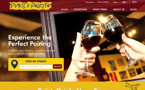 Screenshot of Home Page pinotspalette.com - Sign Up for A Paint & Sip Class - Pinot's Palette - captured April 14, 2016