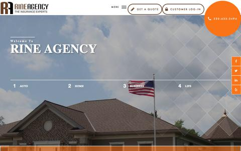 Screenshot of Home Page rineagency.com - Insurance Agency  - Rine Agency - captured Oct. 22, 2017