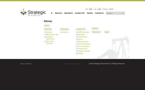 Screenshot of Site Map Page sogoil.com - Sitemap - Strategic Oil & Gas Ltd. - captured Oct. 7, 2014