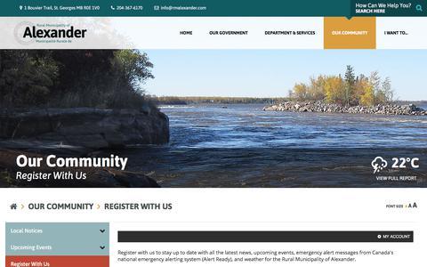 Screenshot of Signup Page rmalexander.com - RM of Alexander - Register With Us - captured June 29, 2018