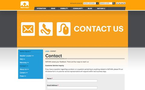 Screenshot of Contact Page nathansports.com - Contact   Nathan Sports - captured Nov. 1, 2014