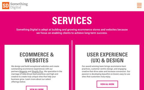Screenshot of Services Page somethingdigital.com - Technology, Creative, Marketing, and Strategy Services | Something Digital - captured Sept. 20, 2019