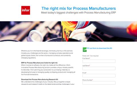 Screenshot of Landing Page infor.com - The right mix for Process Manufacturers - captured Nov. 22, 2016