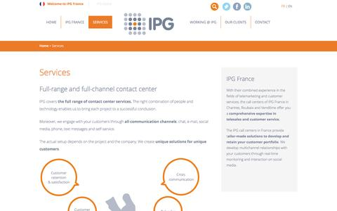 Screenshot of Services Page ipg-callcenter.fr - Full-range and full-channel contact center| IPG France - captured May 15, 2016
