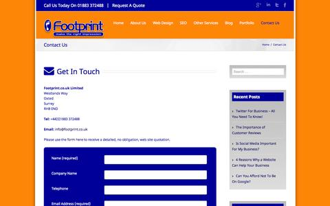 Screenshot of Contact Page footprint.co.uk - Contact Details For Footprint Web Design, Oxted, Surrey - captured Oct. 6, 2014