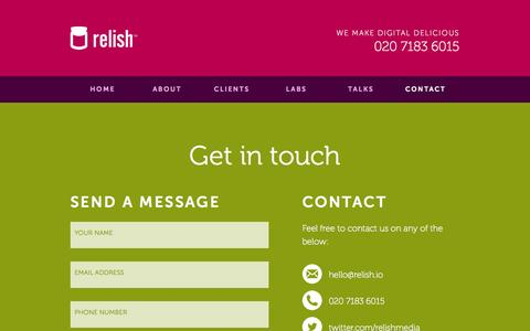 Screenshot of Contact Page relish.io - Contact | Relish - captured Oct. 4, 2014