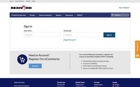 Screenshot of Login Page rexnord.com - Sign In-Rexnord - captured Nov. 12, 2017