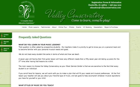 Screenshot of FAQ Page valleyconservatory.com - FAQs | Valley Conservatory | Huntsville, AL 35805 - captured Oct. 7, 2014