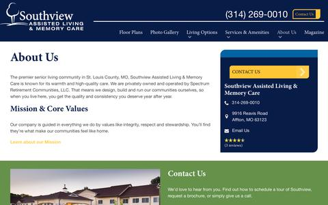 Screenshot of About Page spectrumretirement.com - About Southview Assisted Living & Memory Care - captured Jan. 31, 2018
