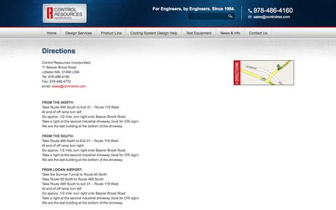 Screenshot of Maps & Directions Page controlresources.com - Directions - Control Resources - The Driving Force of Motor Control & Electronics Design - captured Aug. 19, 2017