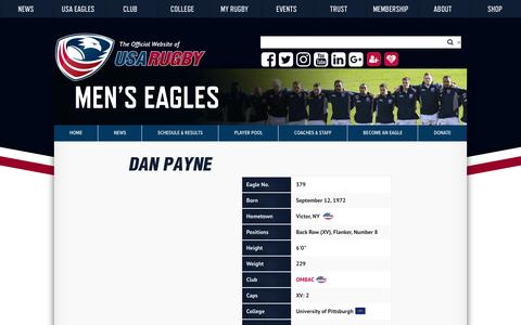 Screenshot of usarugby.org - Dan Payne | USA Rugby Eagle Profiles - captured Oct. 5, 2016