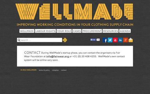 Screenshot of Contact Page wellmade.org - Contact - Wellmade - Improving working conditions in your clothing supply chain - captured Oct. 7, 2014