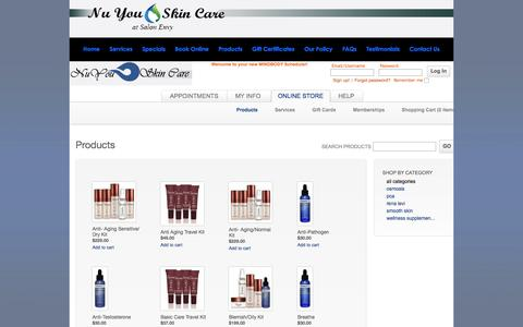 Screenshot of Products Page nuyouskincare.com - Nu You Skin Care | We offer products for skin care and maintenance, acne care, purifying cleansers, natural cleansers, vegan face care, and all natural skin care products. 215.847.5659. - captured Feb. 15, 2016