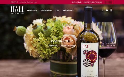 Screenshot of Home Page hallwines.com - Hall Wines - captured Feb. 4, 2016