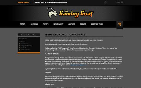 Screenshot of Terms Page thegaminggoat.com - Terms and Conditions of Sale - captured Oct. 6, 2014